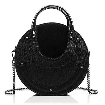 FIRENZE ARTEGIANI Real Leather Women's Bag. Genuine leather bag Dollar. Handle and exclusive design. Shoulder bag. Woman's handbag. Made in ITALY. REAL ITALIAN PELLE 22x17x8 cm. Color: BLACK