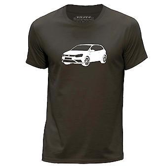 STUFF4 Men's Round Neck T-Shirt/Stencil Car Art / 16 Polo GTI/Dark Brown