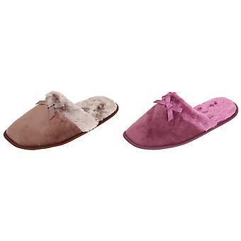 Slumberzzz Womens/Ladies Faux-Fur Bow Slider Slippers