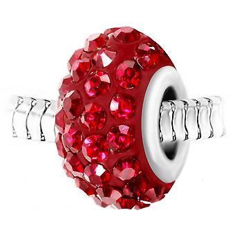 Charm pärla pav av röda kristaller och stål av SC Crystal BEA0027