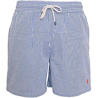 Polo Ralph Lauren rayas Seersucker Traveller Swim Shorts, Azul Real / Blanco