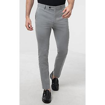 Avail London Mens Light Grey Suit Trousers Skinny Fit
