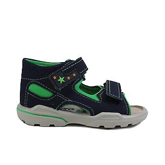 Ricosta Manto 3223900-171 Navy Leather Boys Rip Tape Sandals