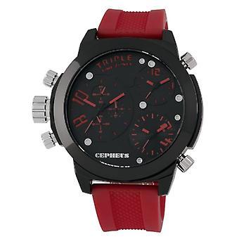 CEPHEUS CP902-624-mannen horloge, siliconen, kleur: rood