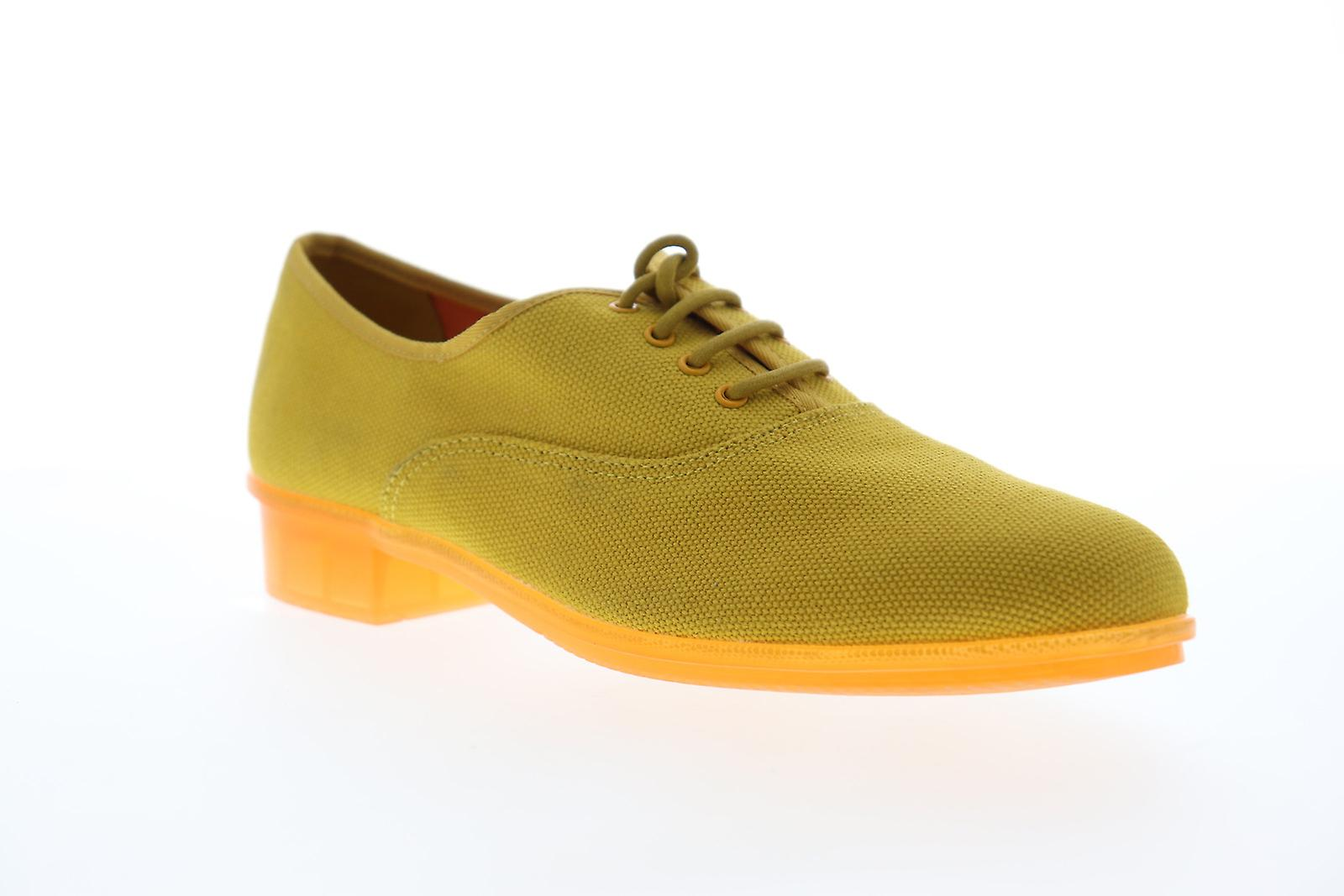 Camper Casi Jazz Womens Yellow Canvas Lace Up Flats Oxfords Buty mDfQ8