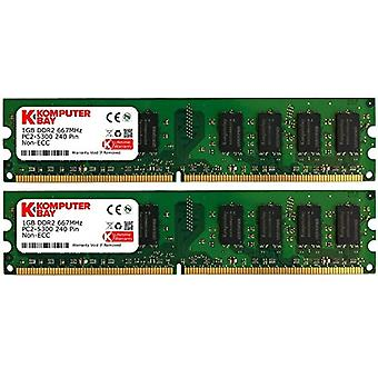 Komputerbay 2GB 2X 1gb DDR2 667MHz PC2-5300 PC2-5400 DDR2 667 (240 PIN) DImm Desktop Memory CL 5