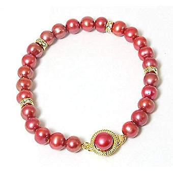 Dyed Bordeaux Spherical Freshwater Cultured Pearl Bracelet 7.5''