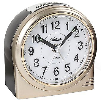 Atlanta 1956/9 alarm clock quartz analog golden quietly without ticking with light Snooze