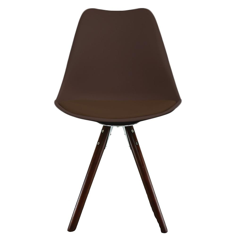 Fusion Living Eiffel Inspired Chocolate Brown Plastic Dining Chair With Pyramid Dark Wood Legs