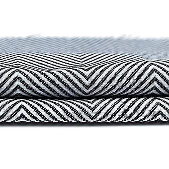 Mcalister textiles harengs twill noir - rideaux blancs