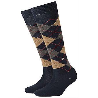Burlington Whitby sokker knehøye - Navy/brun