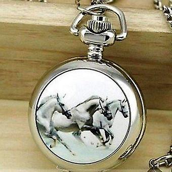 Horse mini pocket watch long necklace