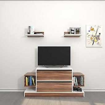 Drzwi tv mobilnych Mautirius Color White, Drewno w melaminie Chip 130x30x60 cm, 40x20x12 cm