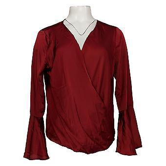 Masseys Women's Top Silky Wrap Draped Top Dark Red