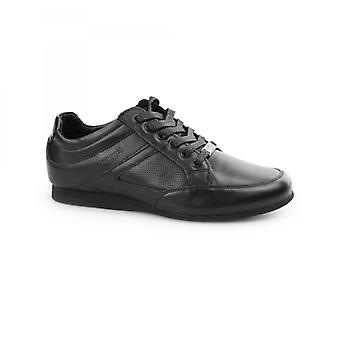 BambooA Trento Boys Leather Lace Up Trainer Shoes Black