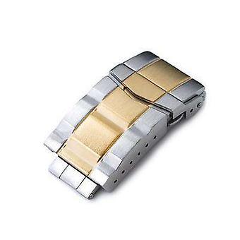 Strapcode ur lås 18mm fast 316l rustfrit stål dobbelt låse submariner dykker lås, knap kontrol, 2-tone ip børstet guld