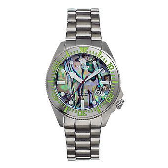 Shield Atlantis Abalone Bracelet Watch w/Date - Silver