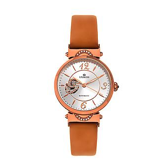 Empress Alouette Automatic Semi-Skeleton Leather-Band Watch - Light Brown