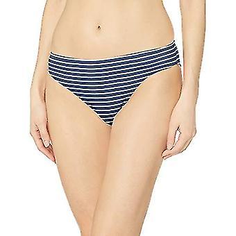 Essentials Women's Classic Bikini Swimsuit Bottom, Navy Stripe, S