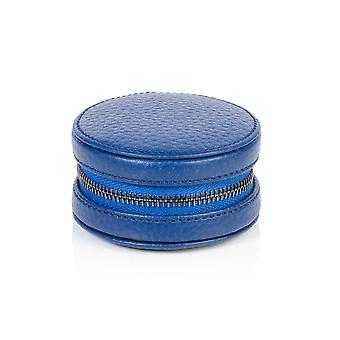 Richmond Leather Cufflink / Ring Box in Sapphire Blue