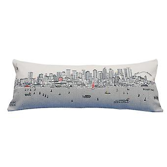 Spura Home Seattle Printed Skyline Embroidered Wool Day/Night Cushion