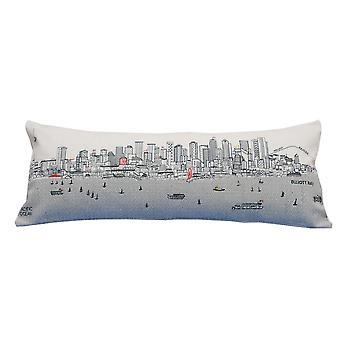 Spura Home Seattle painettu taivaanranta kirjailtu villa päivä / yö tyyny