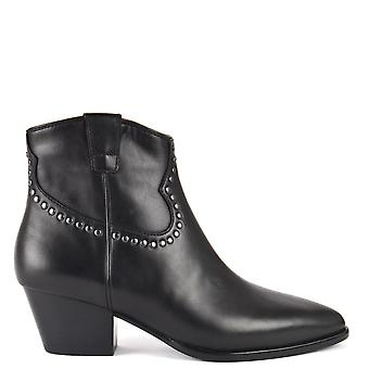 Ash Footwear Houston Bis Leather Ankle Boots Black