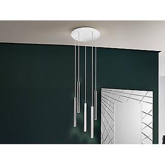 Integrated LED 5 Light Cluster Drop Ceiling Pendant Matt White, Chrome