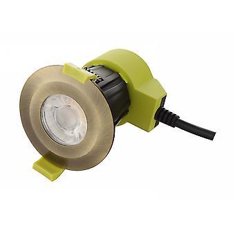Inspiriert Dlux - Bazi - dimmbare LED Einbau Downlight, Antik Messing, 38 Grad. Strahlwinkel, 800lm, 4000K, IP65, DRIVER INCLUDED