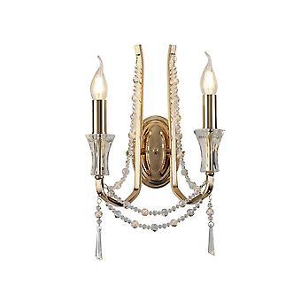 Inspiriert Diyas - Armand - Wandlampe 2 Kerze Licht E14 Französisch Gold, Kristall