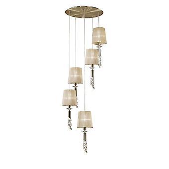Pendentif cluster plafond 5+5 Light E27+G9 Spiral, Laiton antique avec nuances de bronze doux et cristal clair