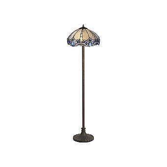 Éclairage Luminosa - 2 lampe de plancher de conception de plancher de plancher d'étage de 40cm Tiffany, bleu, cristal clair, laiton antique vieilli