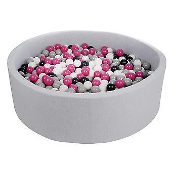 Ball pit 125 cm med 900 bolde sort, hvid, lilla og grå