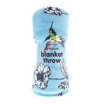 Country Club Printed Blanket, Blue Hummingbird