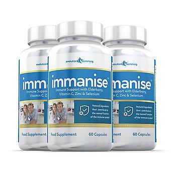 Immanise™ Immun stöd tillägg med Fläder, C-vitamin och zink - 180 kapslar - Immun hälsa - Evolution bantning