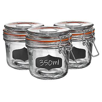 Glass Storage Jars with Airtight Clip Lid and Chalkboard Stickers - 350ml Set - Orange Seal - Pack of 6