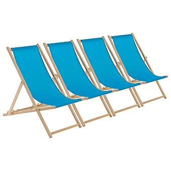 Traditional Adjustable Wooden Beach Garden Deck Chair - Light Blue - Pack of 4