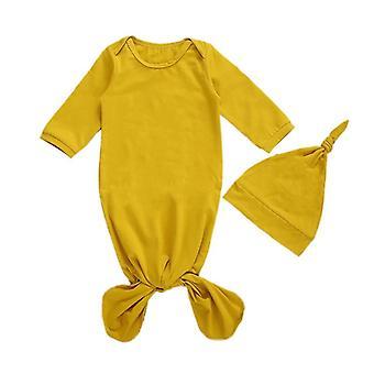 طفل حديث الولادة كيس النوم التفاف ملتف بطانية + مجموعات عصابة الرأس، والقطن الناعم
