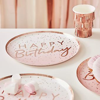 Rose Gold Ombre Paper Happy Birthday Party Plates x 8