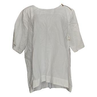Martha Stewart Women's Top Linen Blend W/ Zipper Detail White A355013