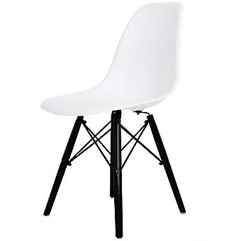 Charles Eames Style White Plastic Retro Side Chair Black Wooden Legs