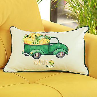 Fall Season Green Pumpkin Truck - Funda de almohada (conjunto de 4)