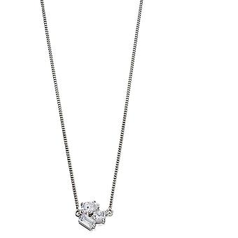 Fiorelli Silver Womens 925 Sterling Silver Assorted Shape CZ Stone Choker Necklace of Length 31cm + 10cm