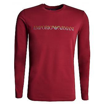 EA7 Men's Burgundy Long Sleeved T-shirt