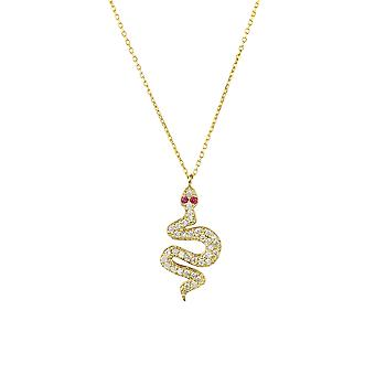 Snake Serpent Animal Egyptian CZ Gemstone Yellow Gold Chain Pendant Necklace