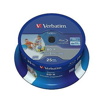 Verbatim 43811 25gb 6x bd-r sl datalife inkjet printable - 25 pack spindle 25 pack spindle - datalif