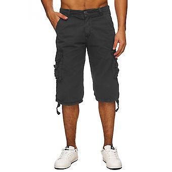 Bermudas Cargo Pant homme 100 % coton été denim cargoshorts court noir beige blanc