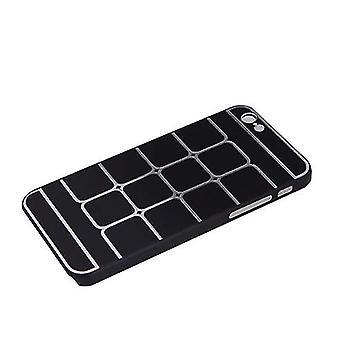 格子グリッド保護ブラシアルミハードバックケースカバースキンアップルiPhone 6ブラック