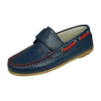 Angela Brown Finlay Boys Leather Boat Shoes Hook and Loop - Bleu