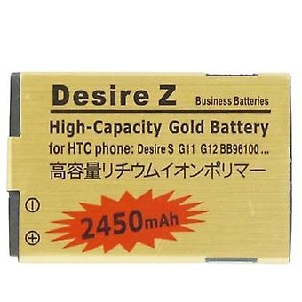 2450mAh High Capacity Gold Battery pour HTC Desire S / Desire Z / G12 / S510e / G11 / BB9610